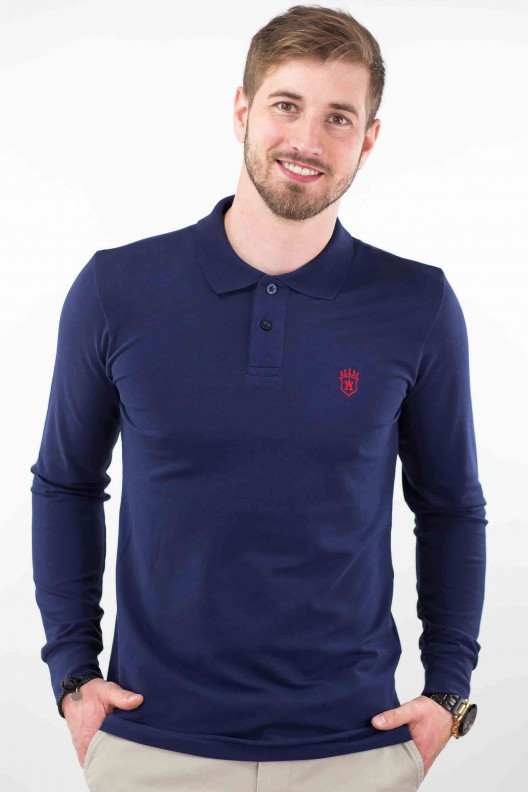 Polo bleu marine homme manches longues