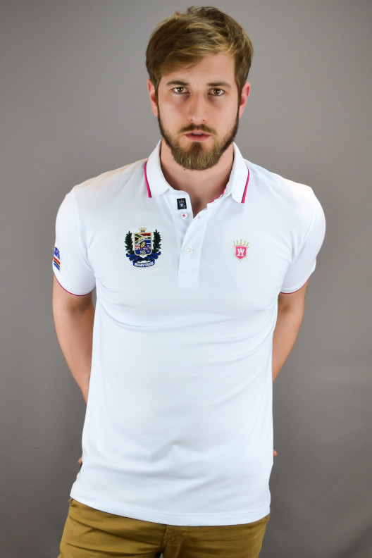 """Polo rugby homme blanc """"INVICTUS"""""""
