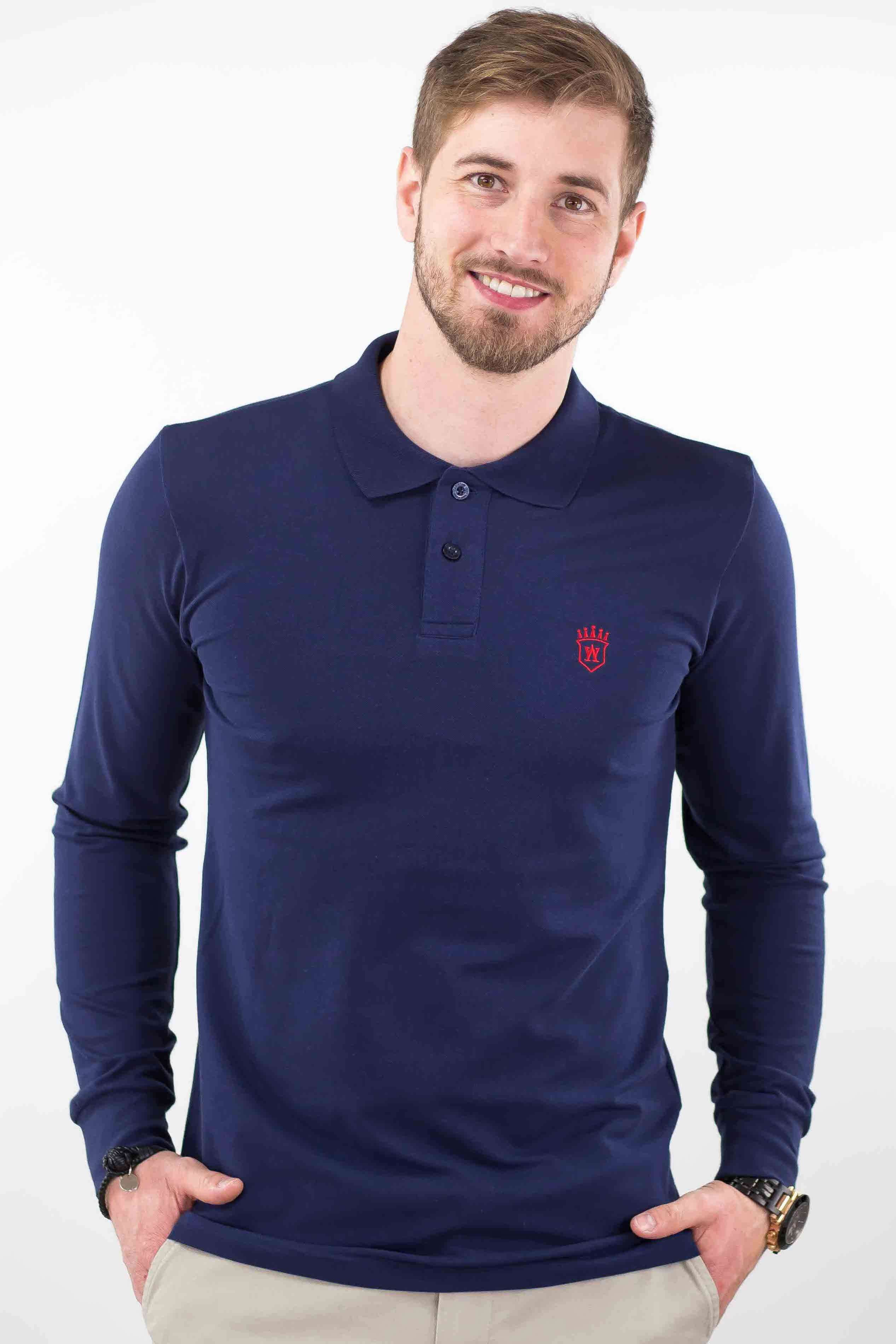 1026a7aed3 Polo bleu marine homme manches longues. Hover to zoom