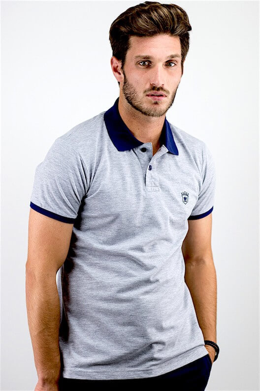 "Polo gris col marine ""ALLOVER"""