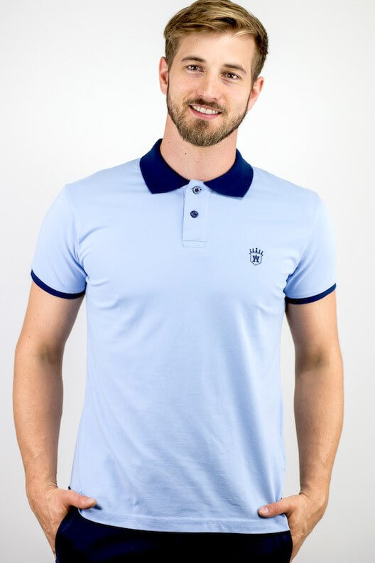 "Polo bleu glacial ""ALLOVER"""